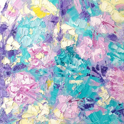 (CreativeWork) Island Life - Abstract Flowers by ASH Art. oil-painting. Shop online at Bluethumb.