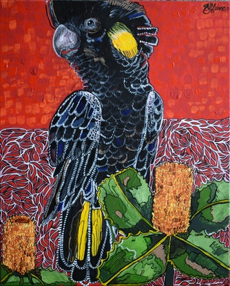 (CreativeWork) Swamp Banksia by Naomi Malone. Acrylic Paint. Shop online at Bluethumb.