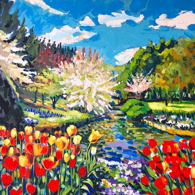 (CreativeWork) Spring Fever  by Valentyna Crane. acrylic-painting. Shop online at Bluethumb.