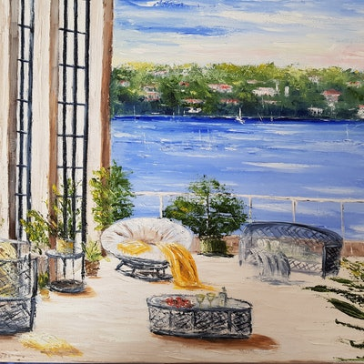 (CreativeWork) View from the balcony by Carmen Iglesias. oil-painting. Shop online at Bluethumb.