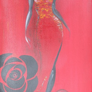 (CreativeWork) Red Rose by Ikuko Maddox. acrylic-painting. Shop online at Bluethumb.