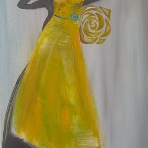 (CreativeWork) Yellow Rose by Ikuko Maddox. acrylic-painting. Shop online at Bluethumb.