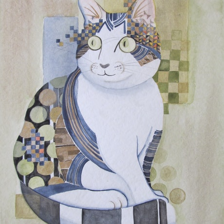(CreativeWork) Cat No.05 by Ikuko Maddox. Watercolour Paint. Shop online at Bluethumb.