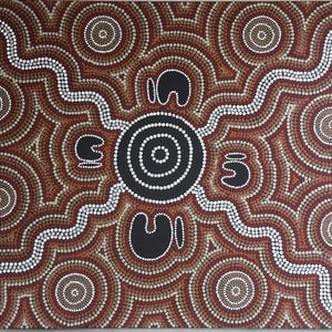 (CreativeWork) Aboriginal dot painting 'bunya yo'arn' Bunya Festival  by gidabul doobay. acrylic-painting. Shop online at Bluethumb.