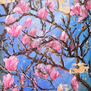 (CreativeWork) Pink Magnolia  by HSIN LIN. acrylic-painting. Shop online at Bluethumb.