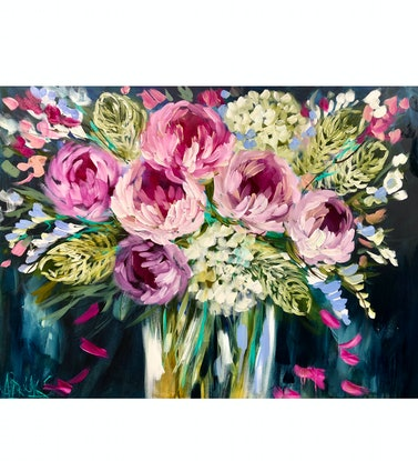 (CreativeWork) forget me  not peony  by Amanda Brooks. Acrylic Paint. Shop online at Bluethumb.