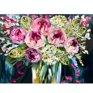 (CreativeWork) forget me  not peony  by Amanda Brooks. acrylic-painting. Shop online at Bluethumb.