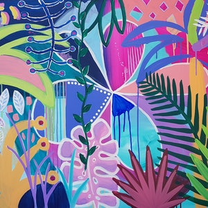 (CreativeWork) Summer in the Jungle by Claire Cooper. acrylic-painting. Shop online at Bluethumb.