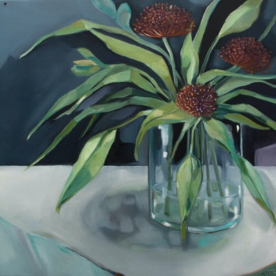 (CreativeWork) Pin Cushions by Sam Suttie. oil-painting. Shop online at Bluethumb.