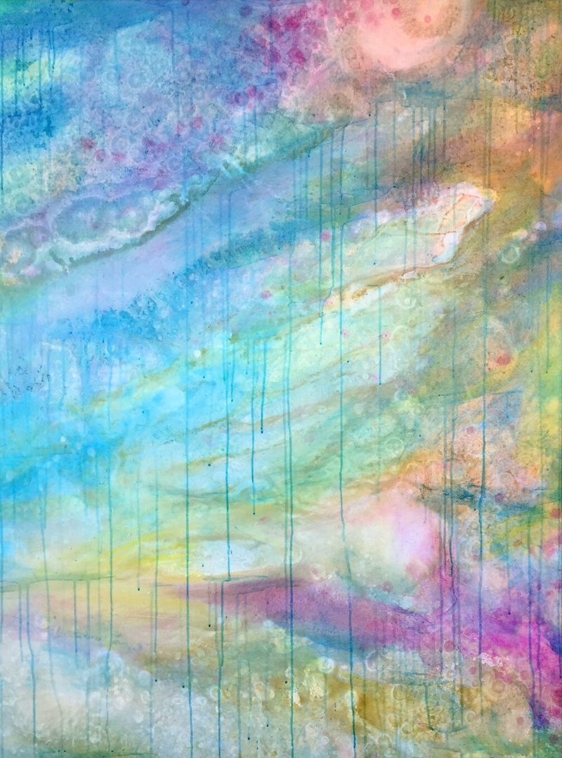 (CreativeWork) Coastal Deluge III – Large Colourful Abstract Art by Jacquelyn Stephens. mixed-media. Shop online at Bluethumb.