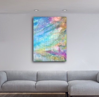 (CreativeWork) Coastal Deluge III – Large Colourful Abstract Art by Jacquelyn Stephens. Acrylic Paint. Shop online at Bluethumb.