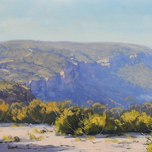 (CreativeWork) View to Narrow Neck Katoomba by Graham Gercken. oil-painting. Shop online at Bluethumb.
