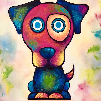 (CreativeWork) Life of a Dog by Melinda Levy. acrylic-painting. Shop online at Bluethumb.