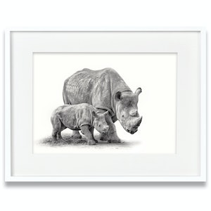 (CreativeWork) Rhinoceros and Calf by Tanya Stollznow. Photograph. Shop online at Bluethumb.