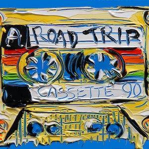 (CreativeWork) Rainbow Road Trip - Mix Tape No.11 by Lisa Fahey. acrylic-painting. Shop online at Bluethumb.