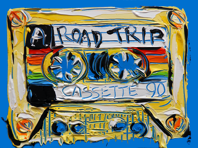(CreativeWork) Rainbow Road Trip - Mix Tape No.11 by Lisa Fahey. Acrylic Paint. Shop online at Bluethumb.