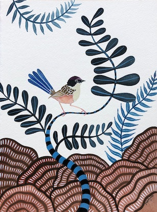 (CreativeWork) Purple Crowned Fairy Wren Forest by Sally Browne. Watercolour Paint. Shop online at Bluethumb.