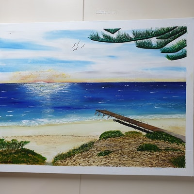 (CreativeWork) Normanville Jetty by Steve CONSTABLE. acrylic-painting. Shop online at Bluethumb.