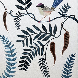 (CreativeWork) Purple Crowned Fairy Wren and Seed Pods   Birds by Sally Browne. watercolour. Shop online at Bluethumb.