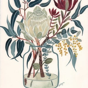 (CreativeWork) White Protea and Blue Gum by Sally Browne. watercolour. Shop online at Bluethumb.