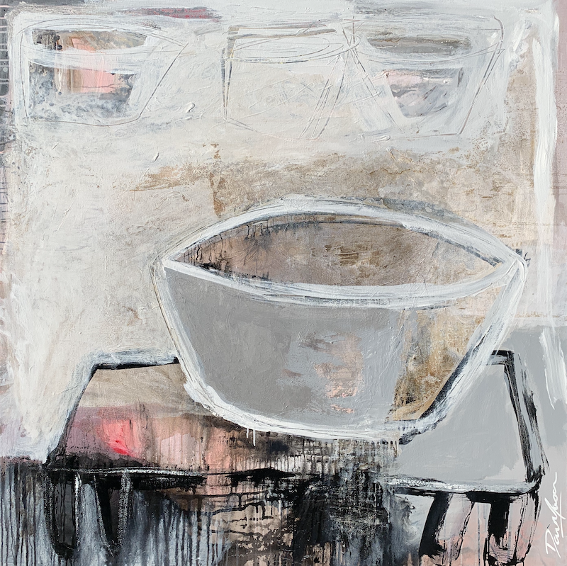 (CreativeWork) Silver Vessel on Black Table #1  by Dan Mason. mixed-media. Shop online at Bluethumb.