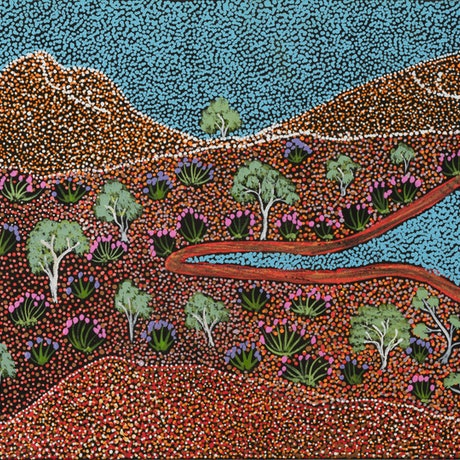 (CreativeWork) Epenarra Landscape 19-EP74 by Susie Peterson. Acrylic Paint. Shop online at Bluethumb.