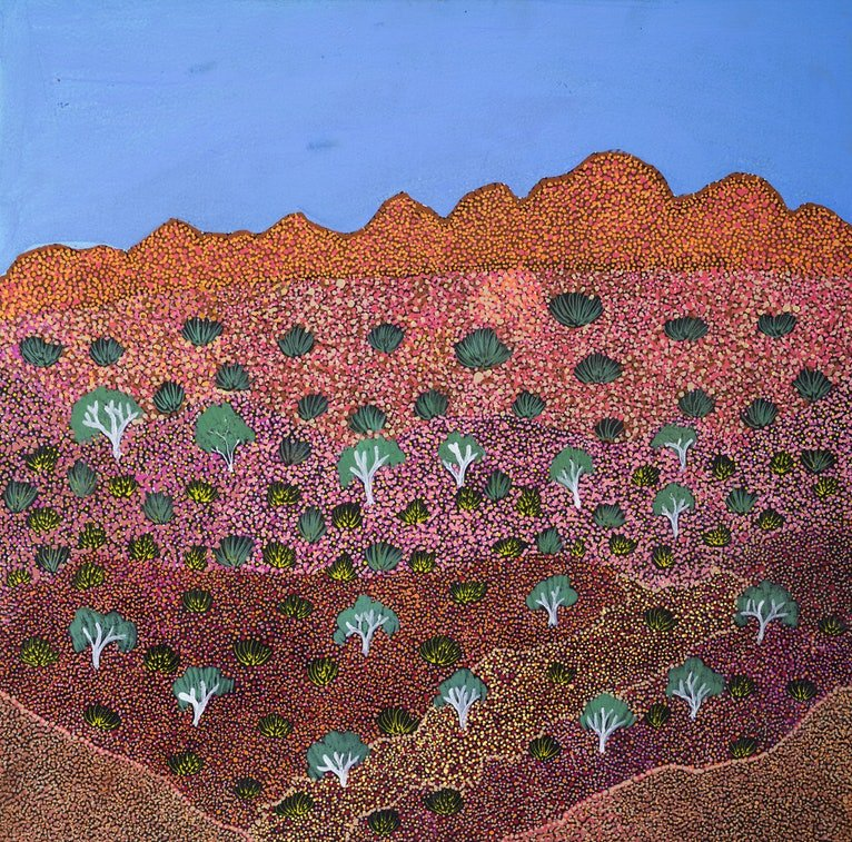 (CreativeWork) Epenarra Landscape (19-EP61) by Susie Peterson. acrylic-painting. Shop online at Bluethumb.