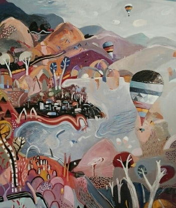 (CreativeWork) Abstract Landscape - Mountains and Balloons by Susan Trudinger. Acrylic Paint. Shop online at Bluethumb.