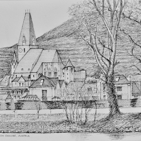 (CreativeWork) Weißenkirchen (White Churches) on the Danube in Austria by Dai Wynn. Drawings. Shop online at Bluethumb.