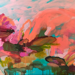 (CreativeWork) Uluru Lilies by Kate Owen. acrylic-painting. Shop online at Bluethumb.