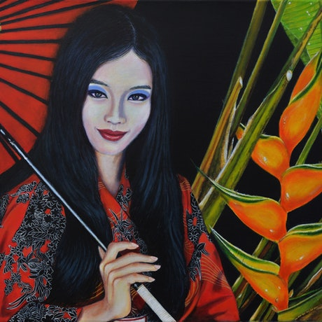 (CreativeWork) Japanese Heliconia by Sergio  Paul Ianniello. Acrylic Paint. Shop online at Bluethumb.