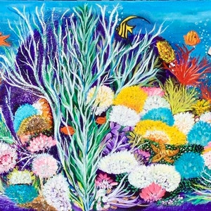 (CreativeWork) Tropical Coral Reef by Carol Lindsay. acrylic-painting. Shop online at Bluethumb.