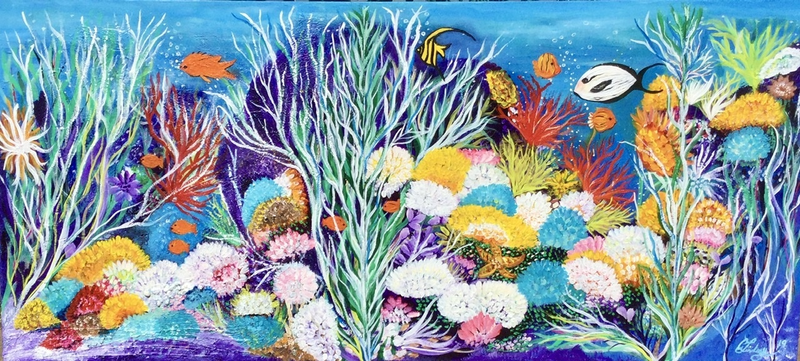 (CreativeWork) Tropical Coral Reef by Carol Lindsay. Acrylic Paint. Shop online at Bluethumb.