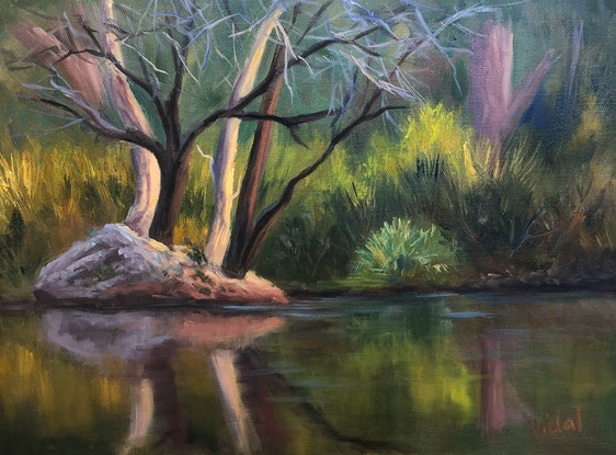 (CreativeWork) Reflections at Mt Surprise,  Queensland - oil on loose linen  by Christopher Vidal. Oil Paint. Shop online at Bluethumb.