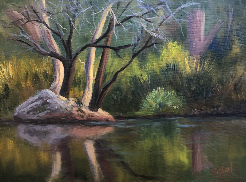 (CreativeWork) Reflections at Mt Surprise,  Queensland - oil on loose linen  by Christopher Vidal. oil-painting. Shop online at Bluethumb.