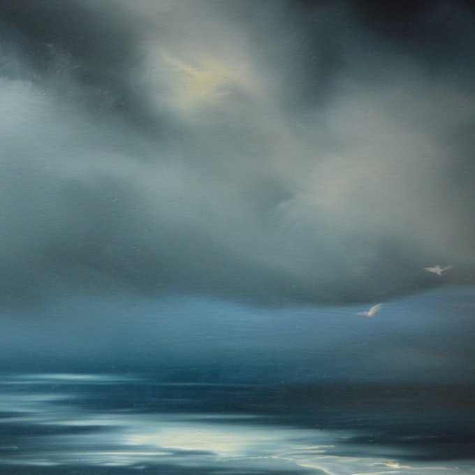 (CreativeWork) Moody Friday by Elaine Green. oil-painting. Shop online at Bluethumb.