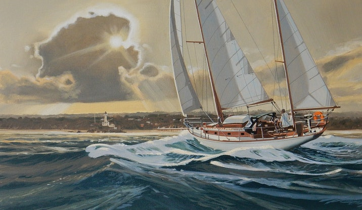 (CreativeWork) Sailing The Rip by Lance Ross. #<Filter:0x00007f73350997c8>. Shop online at Bluethumb.