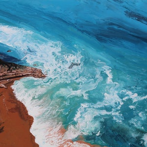 (CreativeWork) Ocean Lace at Bells by Nic Everist. acrylic-painting. Shop online at Bluethumb.