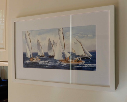 (CreativeWork) Couta Boats racing at Sorrento by Lance Ross. #<Filter:0x000055be21cc56e8>. Shop online at Bluethumb.