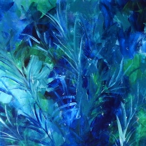 (CreativeWork) Blue Ferns - Abstract in Blues and Greens by Julie Hollis. acrylic-painting. Shop online at Bluethumb.