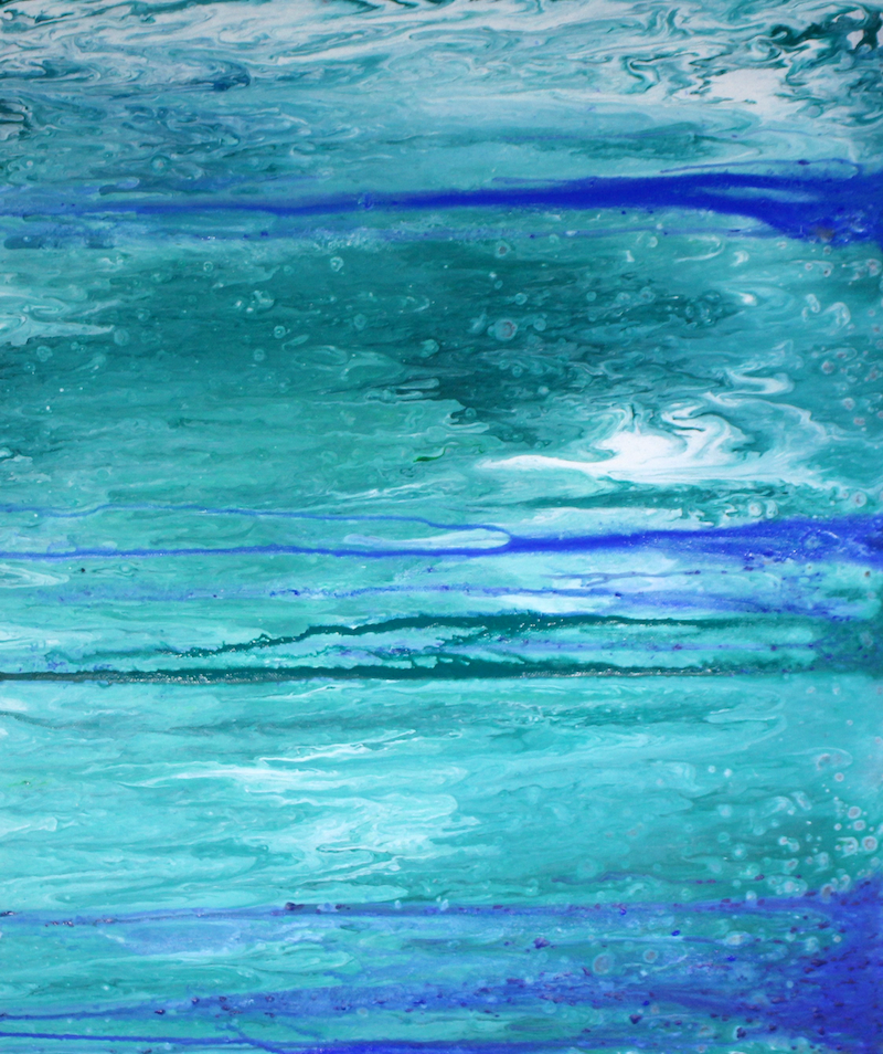 (CreativeWork) Abstract Seascape in Blues and Greens by Julie Hollis. acrylic-painting. Shop online at Bluethumb.