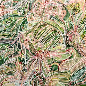 (CreativeWork) Jungle Tropics by Carley Bourne. acrylic-painting. Shop online at Bluethumb.