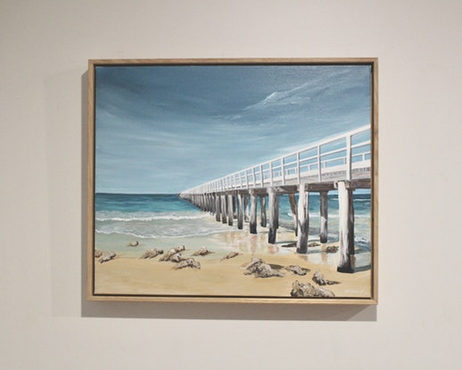 (CreativeWork) Point Lonsdale Pier by Nic Everist. Acrylic Paint. Shop online at Bluethumb.