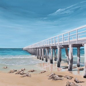 (CreativeWork) Point Lonsdale Pier by Nic Everist. acrylic-painting. Shop online at Bluethumb.
