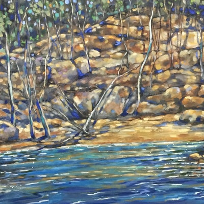 (CreativeWork) Colours of the hawksberry by sue bannister. Oil Paint. Shop online at Bluethumb.
