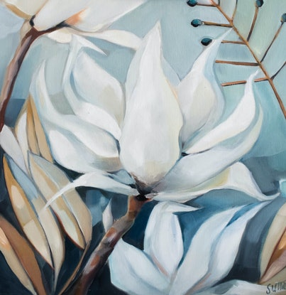 (CreativeWork) Iced Bloom by Sam Suttie. Oil Paint. Shop online at Bluethumb.