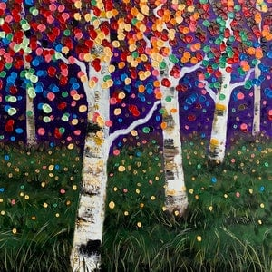 (CreativeWork) Birch Field by Tom Roso. acrylic-painting. Shop online at Bluethumb.