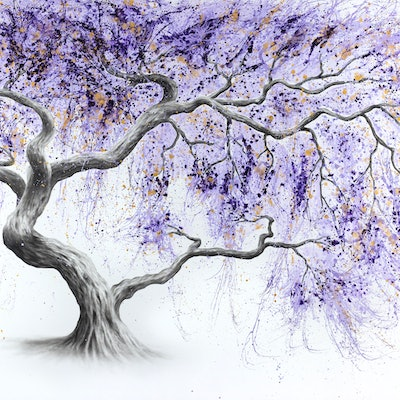 (CreativeWork) Purple Prosperity Tree by Ashvin Harrison. acrylic-painting. Shop online at Bluethumb.