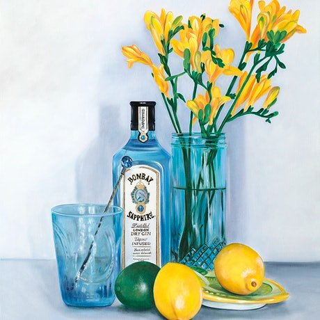 (CreativeWork) Thats The Spirit - Original Oil Painting with gin, flowers and fruit by Mia Laing. Oil Paint. Shop online at Bluethumb.