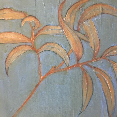 (CreativeWork) Gum leaf #3 by Tara Mai. Acrylic Paint. Shop online at Bluethumb.